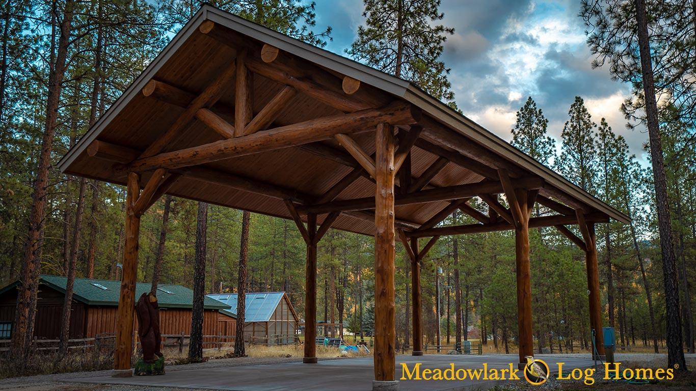22x44 Heritage Log Pavilion - Meadowlark Log Homes
