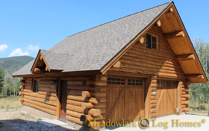 Garages and barns meadowlark log homes for Chalet style homes with attached garage