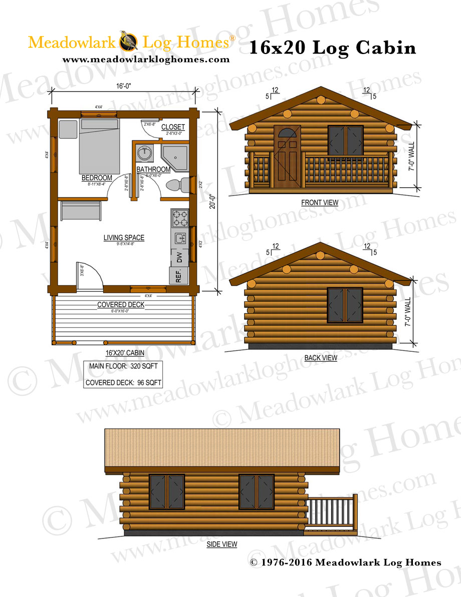 16x20 Log Cabin - Meadowlark Log Homes