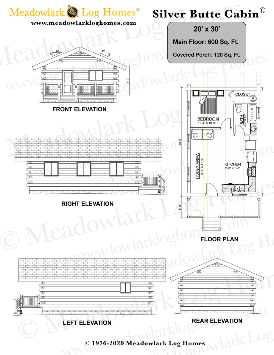 20x30 log cabin meadowlark log homes for Square log cabin plans