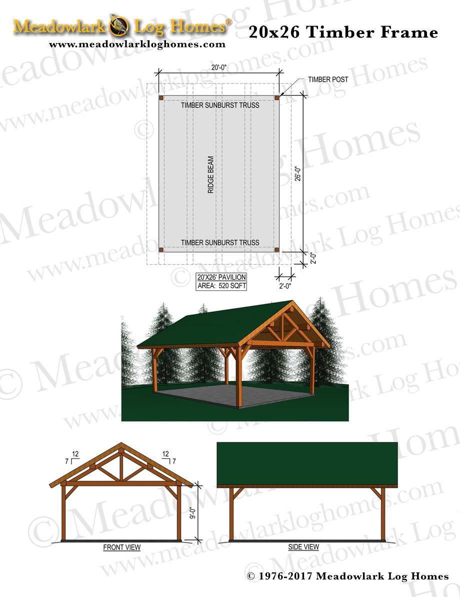 20x26 Timber Frame Meadowlark Log Homes