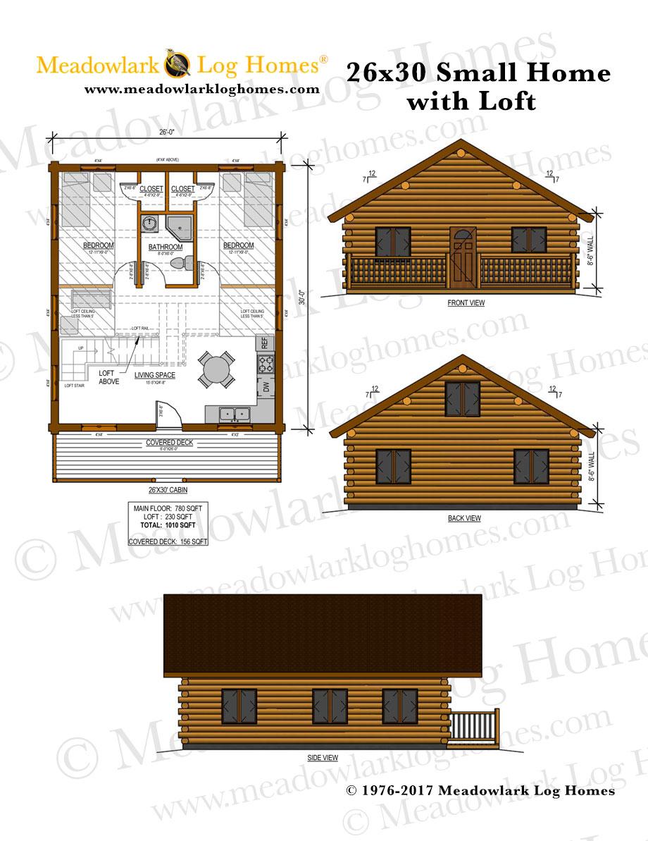 26x30 Log Home W Loft Meadowlark Log Homes